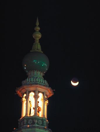 Minaret with crescent moon